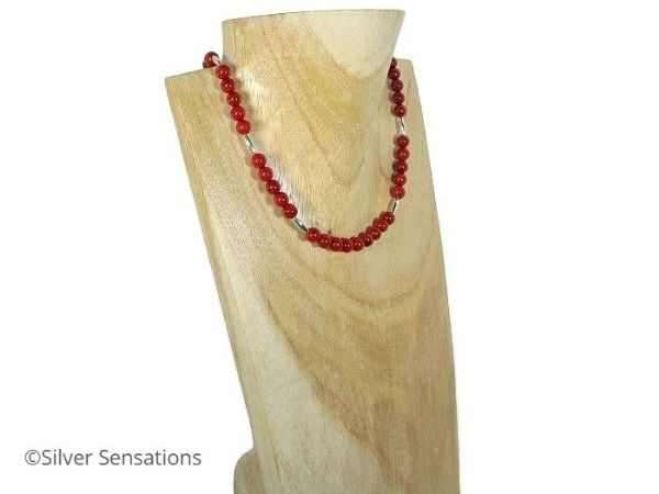 Unique Rich Red Coral Ladies Necklace With Oval Sterling Silver Beads | Silver Sensations